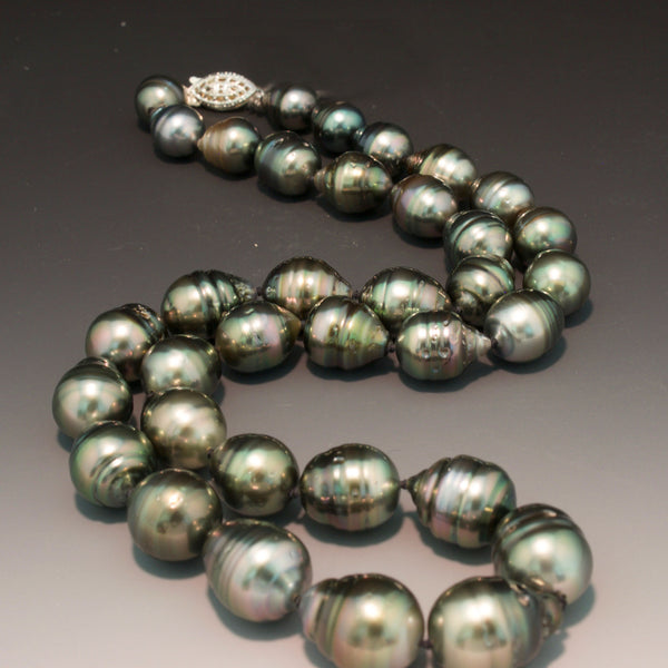 Sterling Silver Black Tahitian Pearl Necklace