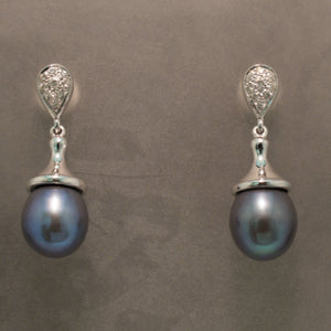 14K White Gold Black Pearl and Diamond Earrings