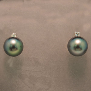 14K White Gold Tahitian Pearl and Diamond Earrings