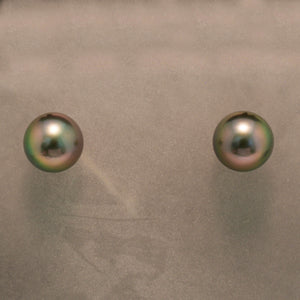 14K White Gold Black Tahitian Pearl Earrings
