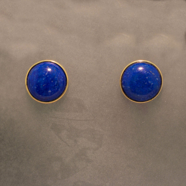14K Yellow Gold Lapis Earrings