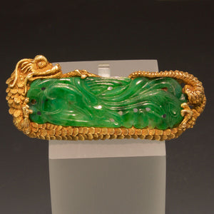 14K Yellow Gold Hand Carved Jade Dragon Brooch