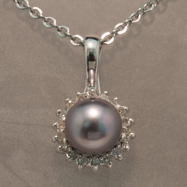 14K White Gold Silver Pearl and Diamond Pendant
