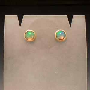 14K Yellow Gold Handmade Opal Earrings