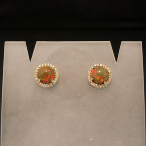 14K Yellow Gold Ethiopian Opal and Diamond Earrings