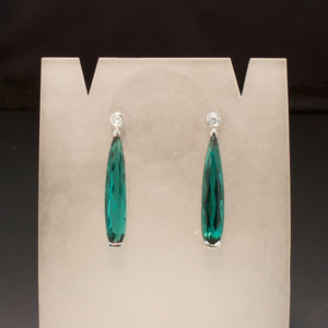 14K White Gold Tourmaline Needle Earrings