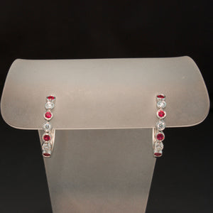 14K White Gold Ruby and Diamond Hoops