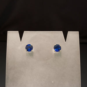14K White Gold Blue Sapphire Earrings