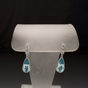 18K White Gold Aquamarine and Diamond Earrings