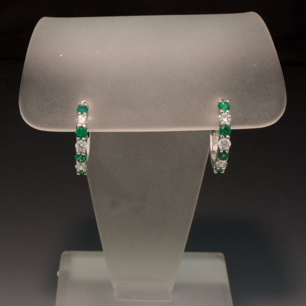 14K White Gold Emerald and Diamond Hoops