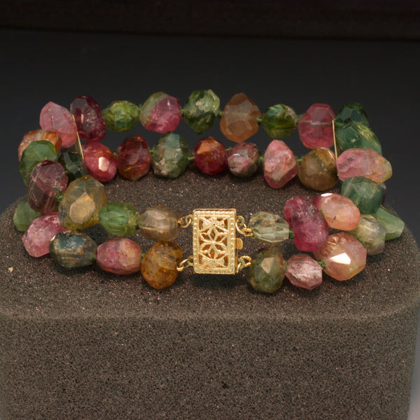14K Yellow Gold Natural Tourmaline Bead Bracelet
