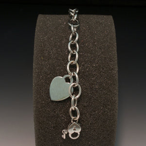 14K White Gold Chain Bracelet with Heart Charm