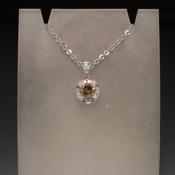 14K White Gold Brown and White Diamond Pendant