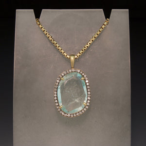 Handmade 14K Yellow Gold Aquamarine Pendant
