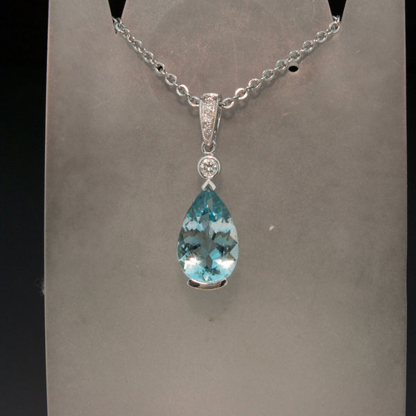 14K White Gold Aquamarine and Diamond Pendant