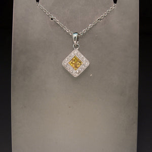 18K White Gold Yellow Sapphire and Diamond Necklace