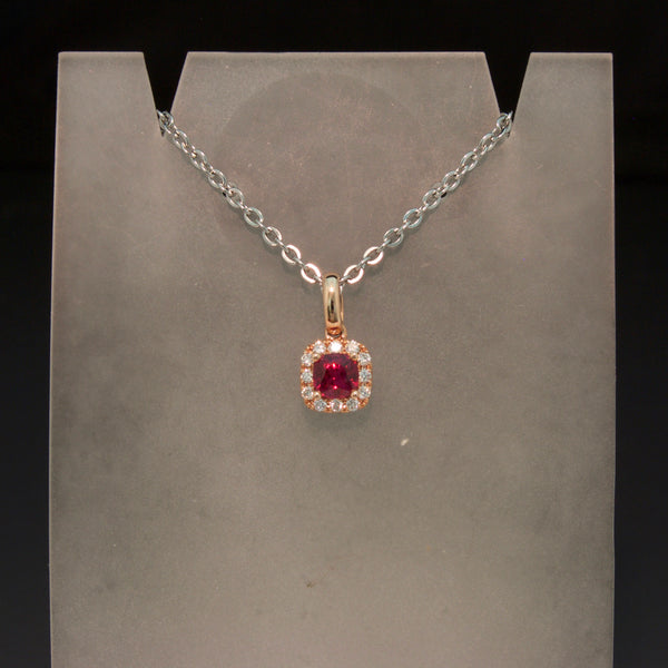 14K Rose Gold Ruby and Diamond Pendant