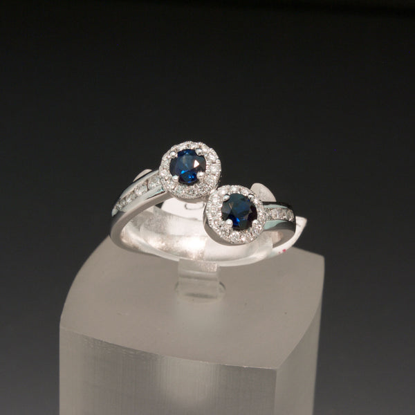 14K White Gold Blue Sapphire and Diamond Bypass Ring