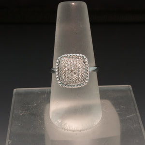 14K White Gold Diamond Cushion Ring