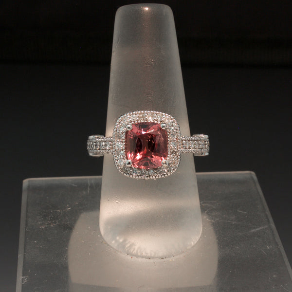 14K White Gold Peach Tourmaline and Diamond Ring