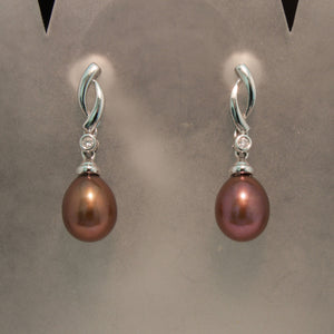 14K White Gold Chocolate Pearl and Diamond Earrings