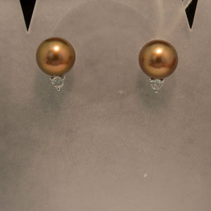 14K White Gold Chocolate Pearl and Diamond Stud Earrings