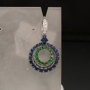14K White Gold Blue Sapphire and Tsavorite Garnet Pendant