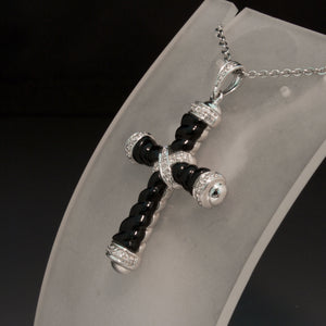 14K White Gold Diamond and Onyx Cross
