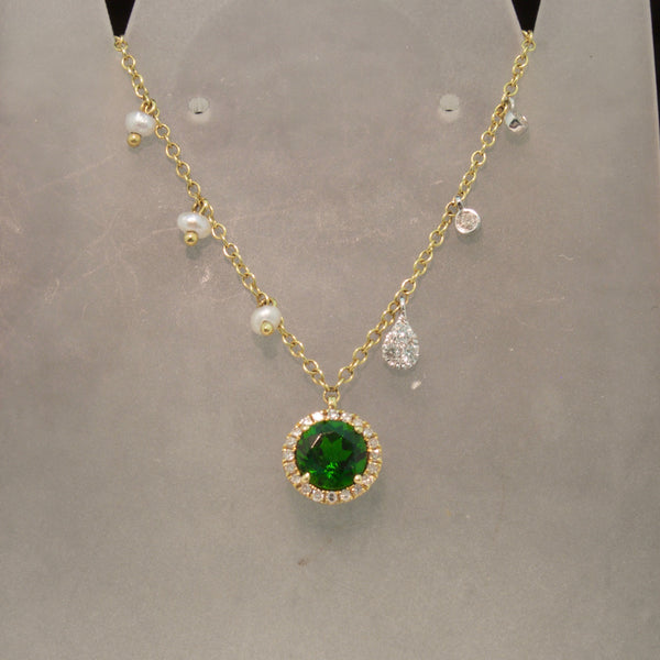 14K Yellow Gold Green Tourmaline and Diamond Necklace