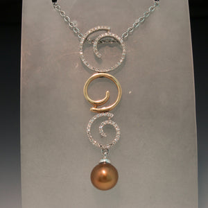 14K White and Rose Gold Chocolate Pearl Pendant
