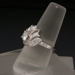 Vintage 1930s 14K White Gold Diamond Ring