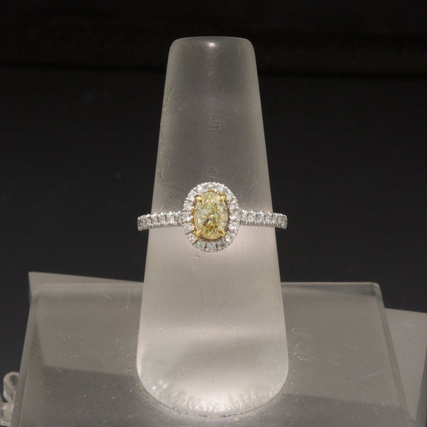 14K White Gold Natural Yellow and White Diamond Ring
