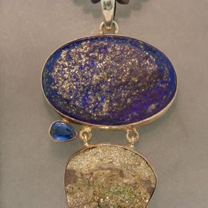Handmade Sterling Silver Kyanite, Lapis and Pyrite Necklace