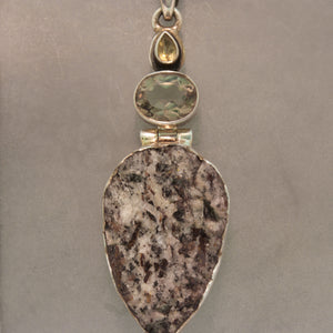 Sterling Silver Astrophyllite, Citrine and Smokey Quartz Necklace