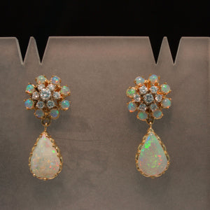 Incredible Vintage Opal and Diamond Earrings