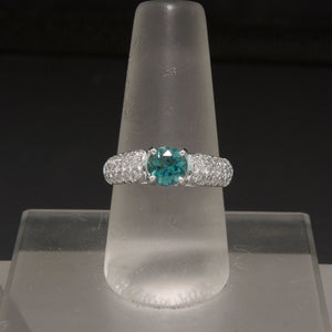 18K White Gold Teal Tourmaline and Diamond Ring