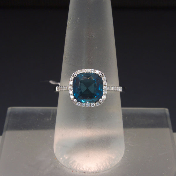 14K White Gold London Blue Topaz Ring