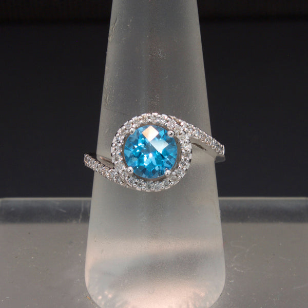 14K White Gold Blue Topaz and Diamond Ring