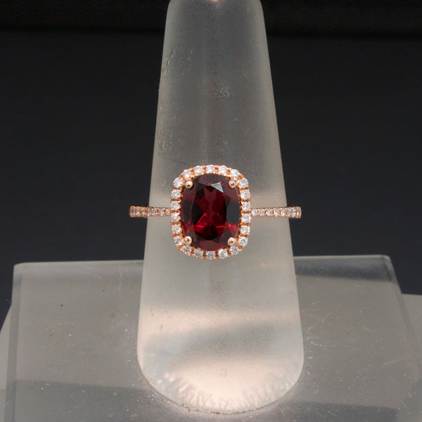 14K Rose Gold Red Garnet and Diamond Ring