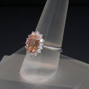 18K White Gold Imperial Topaz and Diamond Ring