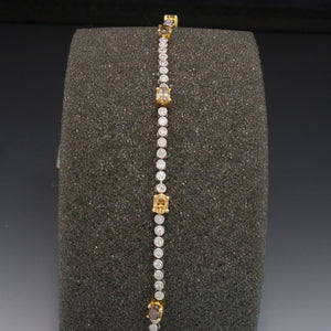 18K White Gold Yellow and White Diamond Bracelet