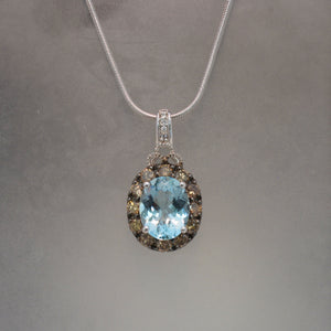 14K White Gold Aquamarine and Brown Diamond Pendant