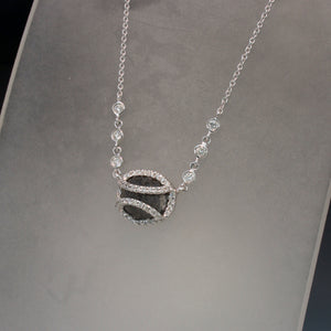 14K White Gold Raw Black Diamond and White Diamond Necklace