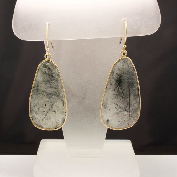 14K Yellow Gold Tourmalinated Quartz Slice Earrings