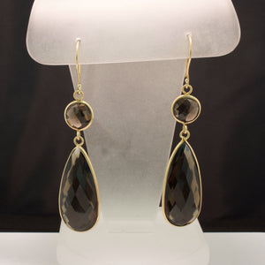 14K Yellow Gold Smokey Quartz Slice Earrings
