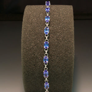 14K White Gold Tanzanite and Diamond Bracelet