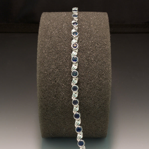 14K White Gold Blue Sapphire and Diamond Bracelet