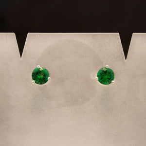 14K White Gold Tsavorite Garnet Earrings
