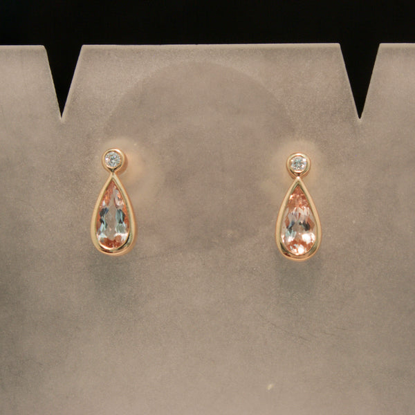 Handmade 14K Rose Gold Morganite and Diamond Earrings