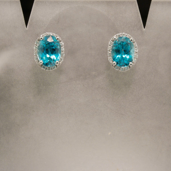 14K White Gold Blue Zircon and Diamond Earrings
